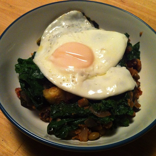 Kale Saute With Runny Eggs